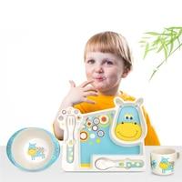 Cartoon Animal Children Tableware 5pcs Set Plate Bowl Cup Forks Bamboo Fiber Cutlery SGS Certification Safe