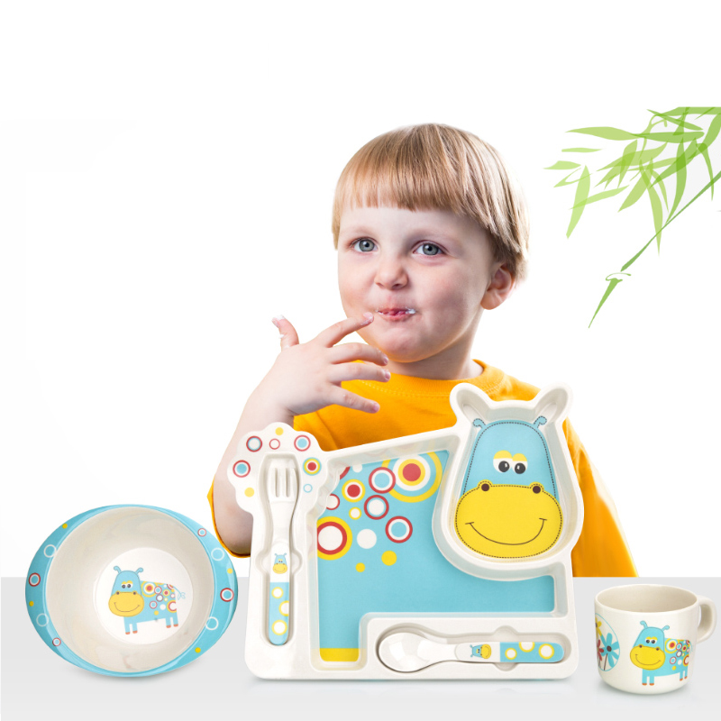 2017 nouvelle vaisselle en bambou pour enfants bébé alimentation ensemble assiette bol tasse fourchette cuillère infantile plats bébé vaisselle ensembles alimentaires
