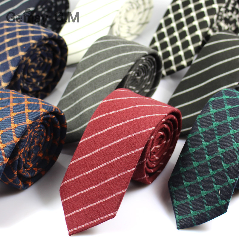 Fashion Casual Cotton Plaid Striped Mens Ties 6CM Narrow Wedding Business Skinny Necktie for Men Fresh Neck Tie Neckwear