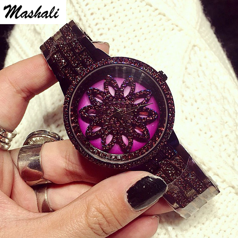 Mashali Brand Women Quartz Watch Stainless Steel Watches Lady Shining Rotation Purple Dress Lady Clocks Montre Femme 2017 New 2017 new hot kimio women s brand watches stainless steel fashion quartz bracelet wristwatches women lady dress watch clocks