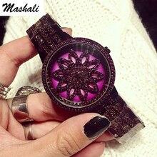 Mashali Brand Women Quartz Watch Stainless Steel Watches Lady Shining Rotation Purple Dress Lady Clocks Montre