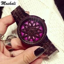 Mashali Brand Women Quartz Watch Stainless Steel Watches Lady Shining Rotation Purple Dress Lady Clocks Montre Femme 2017 New