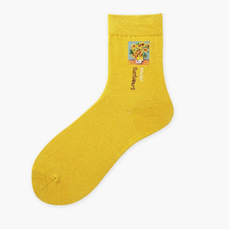 Socks Underwear & Sleepwears 1 Pair High Quality Cute Japanese Ukiyoe Style Famous Oil Painting Design Women Girls Socks Casual Cotton Street Fashion Socks