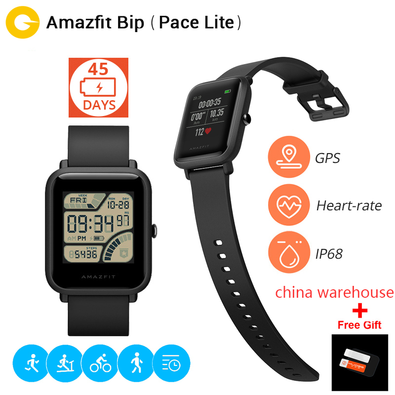 Cadeau film Xiao mi Hua mi Amazfit Bip BIT PACE Lite jeunesse Verison montre intelligente mi Fit IP68 étanche Glonass + GPS Version anglaise