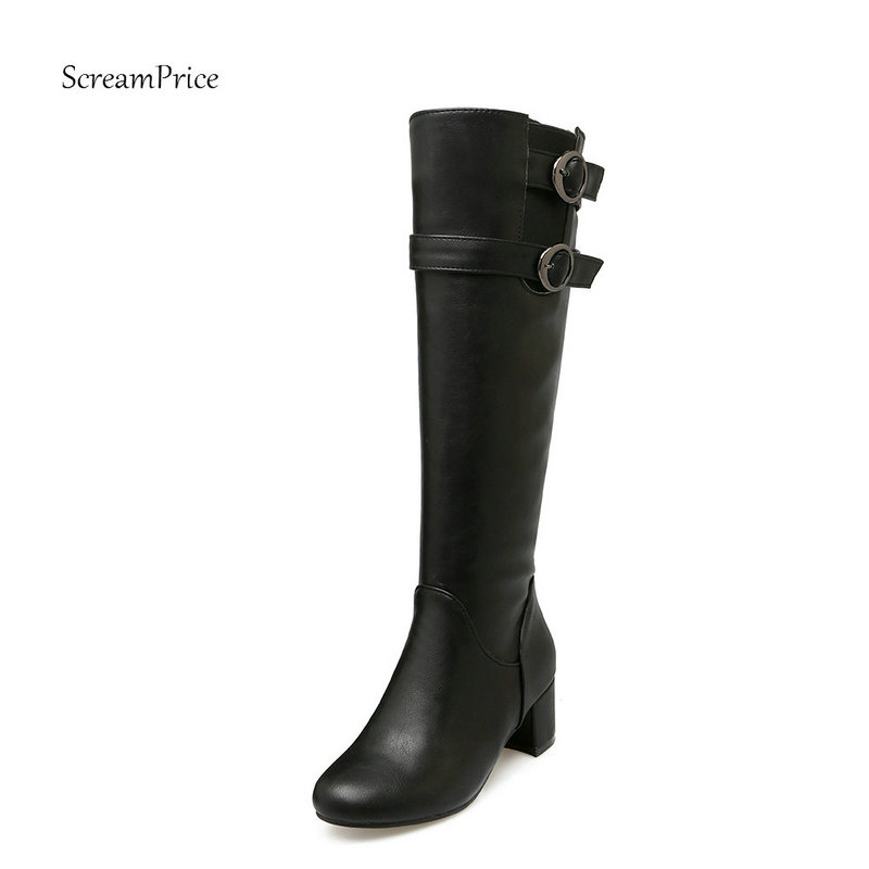 Women Side Zipper Comfortable Square Heel Knee High Boots Fashion Buckle Round Toe Keep Warm Winter Shoes Black Brown Gray women lace up comfortable square heel platform knee high boots fashion round toe keep warm winter shoes black red blue