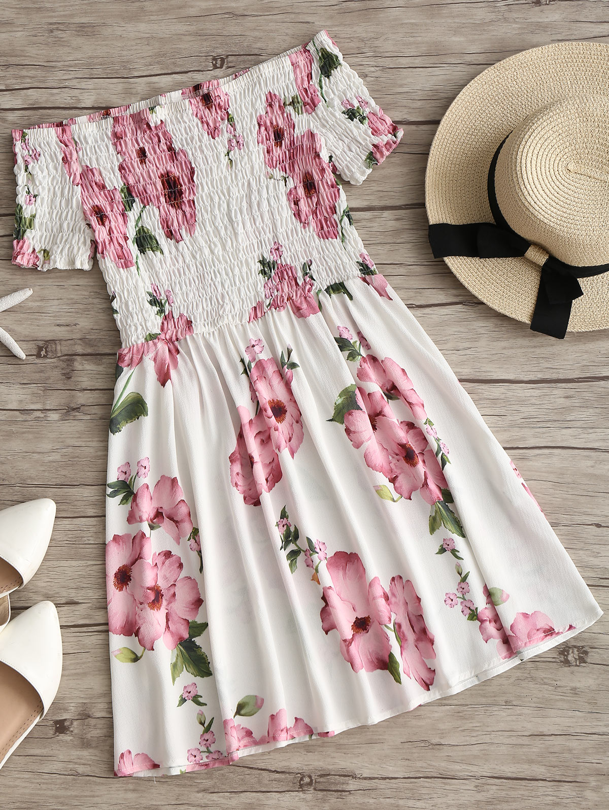 HTB1l4B2n63z9KJjy0Fmq6xiwXXau - Off Shoulder Smocked Flower Flare Dress JKP343