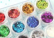 12 종류의 우주 스타 반짝이 조각 네일 아트, 메이크업, 수지 쥬얼리 제작, 1 키트 12 항아리에 대한 네 개의 지적 별 반짝이 키트