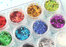 12 Soorten Space Star Glitter Vlokken Vier Puntige Sterren Glitter Kit Voor Nail Art, Make Up, hars Sieraden Maken, 1 Kit 12 Potten