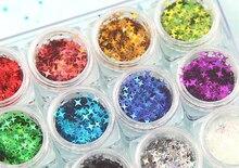 12 arten Space Star Glitter Flakes Vier Wies Sterne Glitter Kit für Nail art, Make Up, harz Schmuck Machen, 1 Kit 12 Gläser
