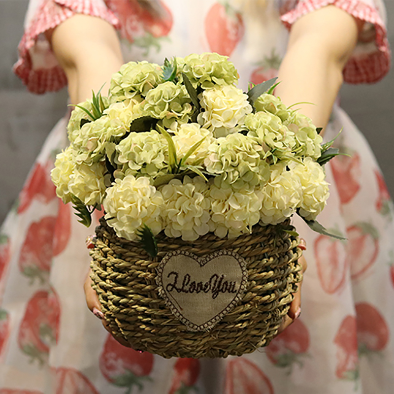 6bff856dc 1Set Carnation Hydrangea Circle Hand-made Straw Basket Artificial Flowers  Vase Wedding Shop Home Decoration Fake Flower 22Color