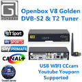 V8 Combo DVB-S2 DVB-T2 TV Receptor de Satélite Decodificador de Cable de Oro Box CCcam 3G USB WIFI WetTV Apoyado Digital set top caja