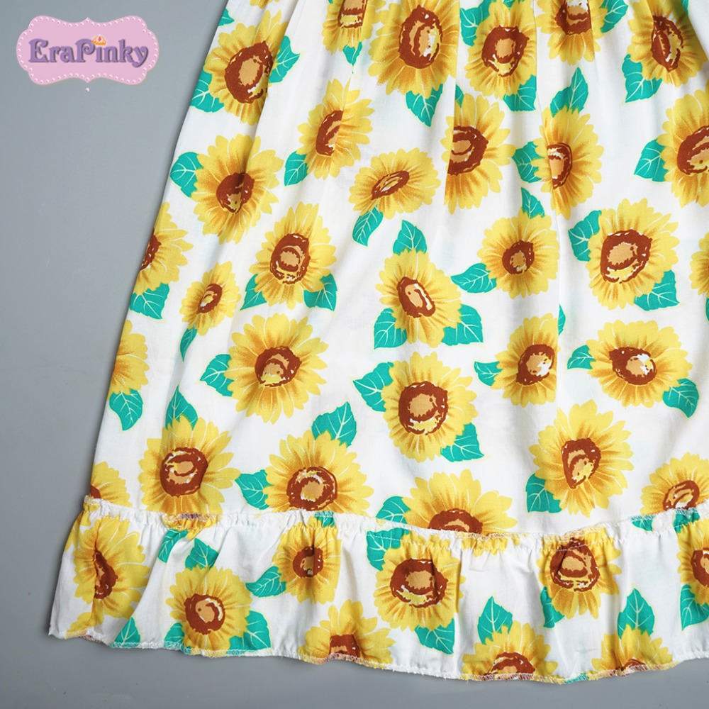 Erapinky Summer Flower Girls Dress Yellow Children Beach Sunflower