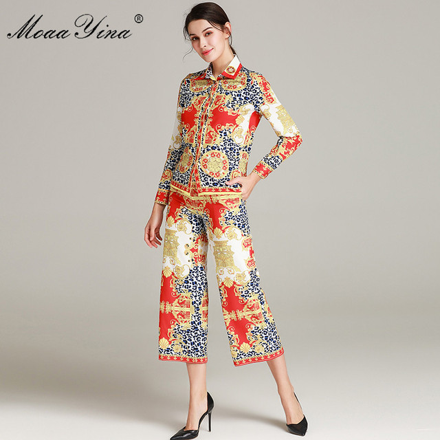 MoaaYina Fashion Set Spring Autumn Women's Long sleeve Beading Vintage leopard Print Blouse Tops+Bell-bottoms Two-piece suit