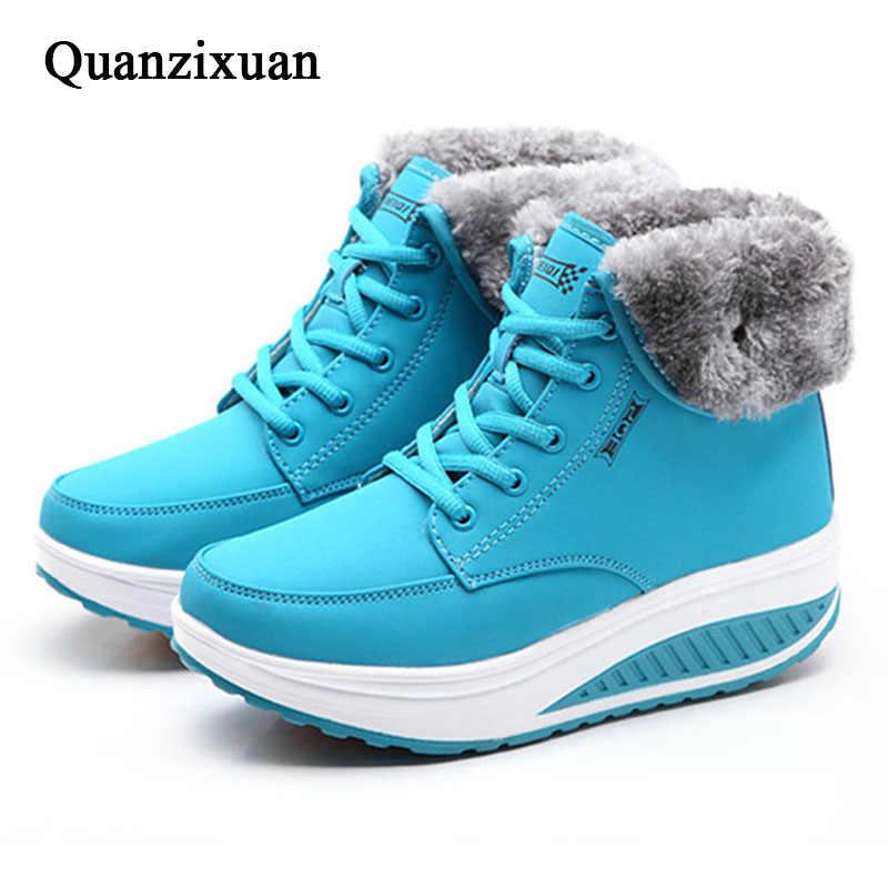Giày Bốt Nữ Mùa Đông Nữ Plus Nhung Đầm Giày Nền Tảng Ủng Nữ Cotton Lót Giày Phẳng Mắt Cá Chân Giày Cho phụ Nữ