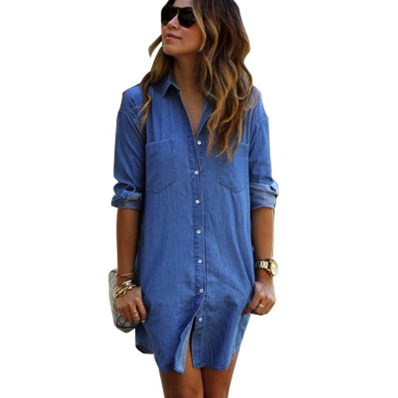 Jean shirt dress plus size women