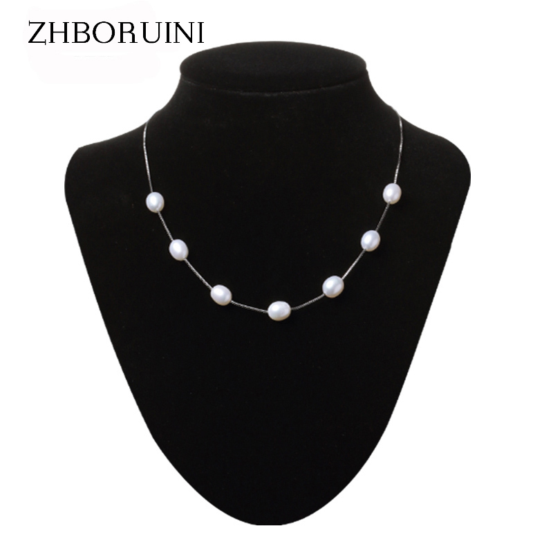 ZHBORUINI Pearl Necklace Pearl Jewelry 925 Sterling Silver Jewelry For Women Natural Pearl 8-9mm Water Drop Babysbreath Gift