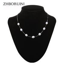 2015 Fashion Necklace Pearl Jewelry Natural Pearl 8-9mm Water Drop Babysbreath 925 Sterling Silver Jewelry Pendants For Women