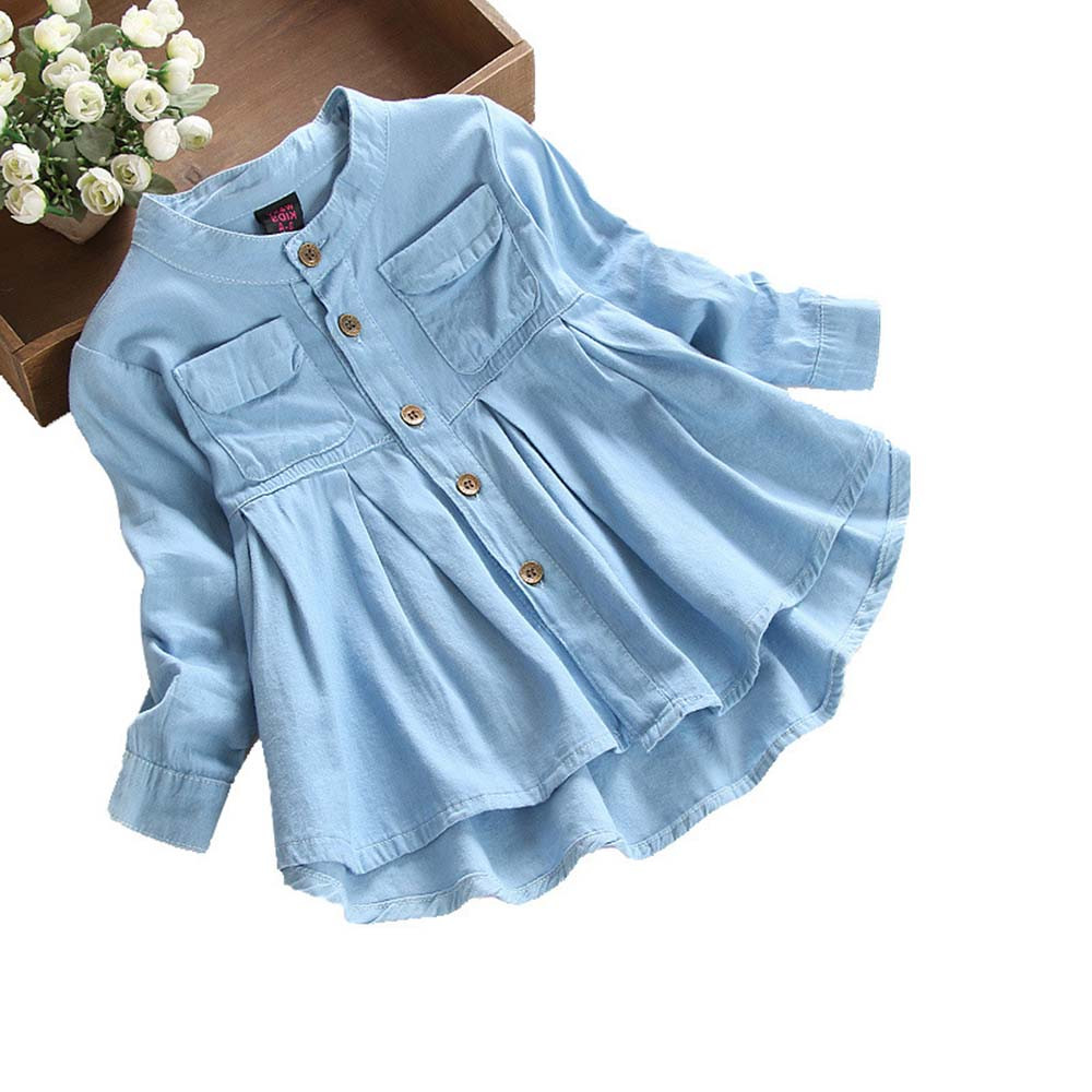 toddler girl clothes Toddler Kid Baby Girls Denim Ruched Long Sleeve   Shirt   Tops   Blouse   Clothing roupa menina6.382gg