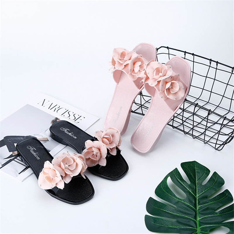 2018 Skinfullysweet Women Slippers Flip Flops Bohemian Flower Ladies Slides Summer Beach Sandals Fashion Flats Slippers kuyupp fashion leather women sandals bohemian diamond slippers woman flats flip flops shoes summer beach sandals size10 ydt563