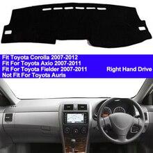 TAIJS 자동차 대시 보드 커버 대시 매트 Toyota Corolla Axio Fielder 2007 2008 2009 2010 2011 자동 미끄럼 방지 일광 차단 패드 카펫