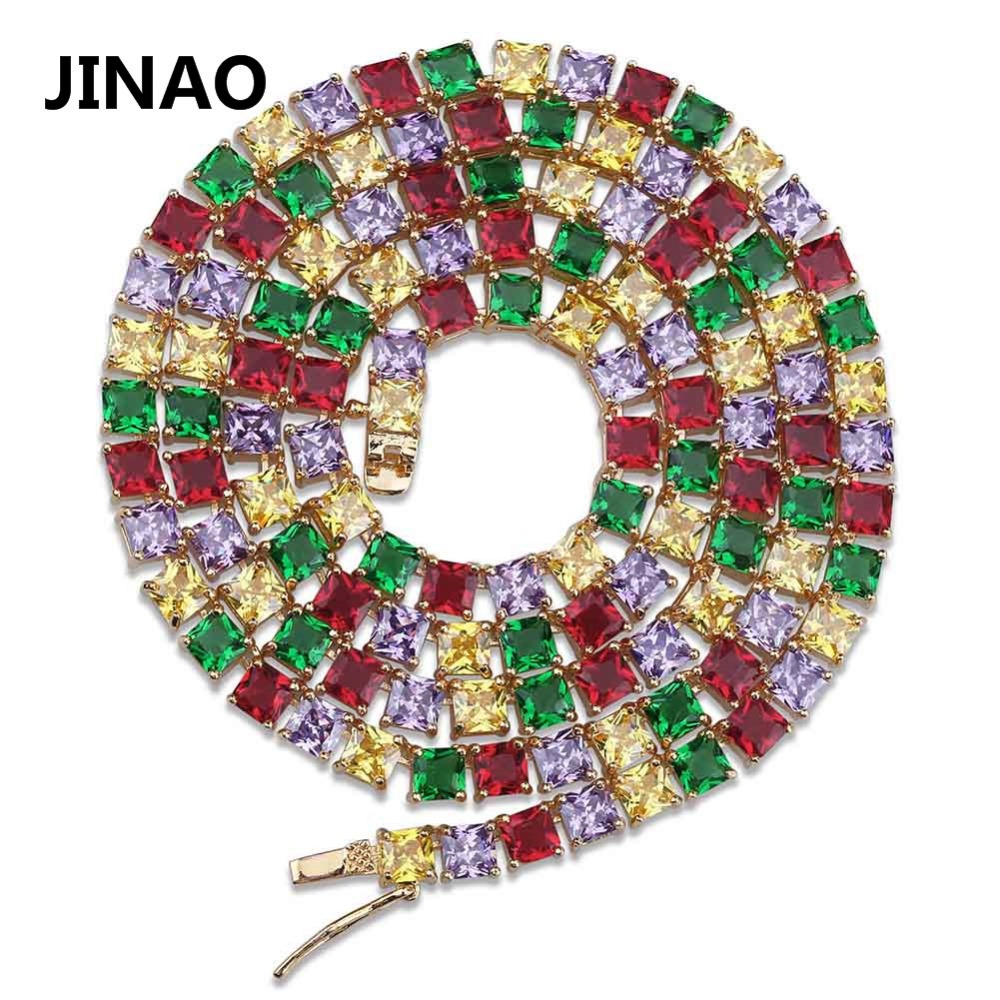 JINAO Gold/Silver Color Plated 1 Row 5 mm Full Iced Out Tennis Chain Micro Pave Colorful AAA Zircon Necklace Chain 18 22inch