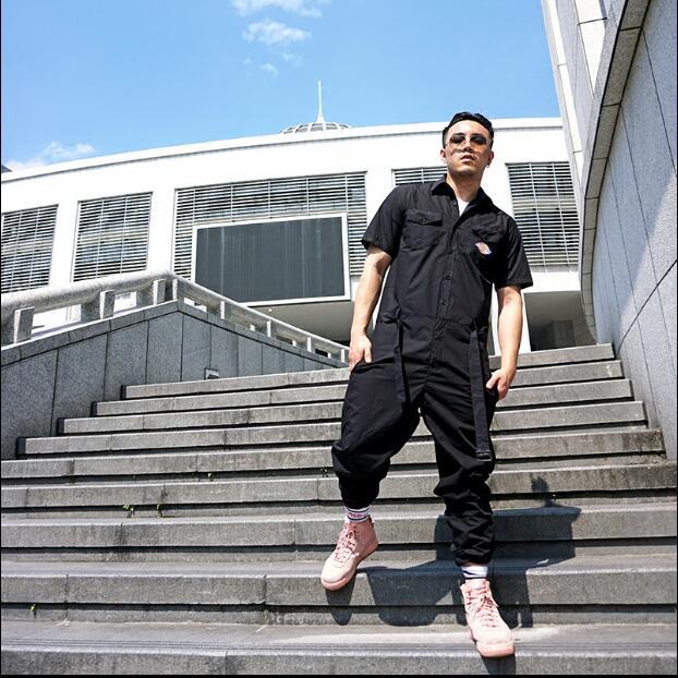 Nouveau hip hop cheveux styliste outillage combinaison ensemble Europe et amérique hiphop marée mâle lâche décontracté rétro combinaison grande taille S-XXXL