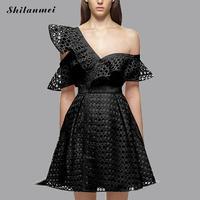 White Lace Dress Women Off One Shoulder Backless Hollow Floral Dress Pink Black Elegant Women Dresses