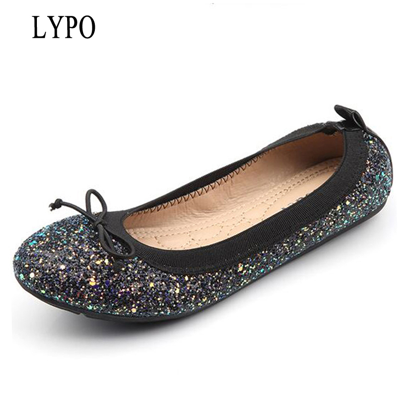 LYPO Euramerican 2018 spring & summer new women's shoes large size butterfly sequins shallow mouth round toe flats shoes new 2017 spring summer women shoes pointed toe high quality brand fashion womens flats ladies plus size 41 sweet flock t179