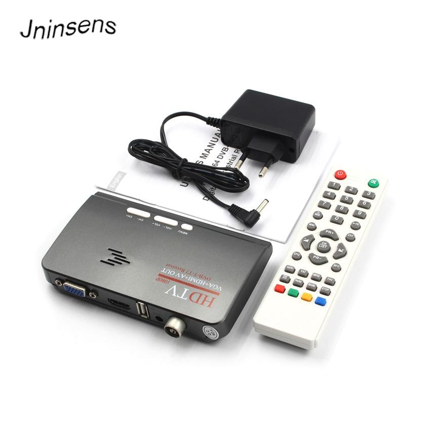 Jninsens 1080P HDTV DVB-T/ DVB-T2 TV Set-top Box Digital Terrestrial HDTV Tuner Receiver HDMI/VGA/AV for LCD/CRT PC Monitor tkdmr universal lcd tv controller driver board support dvb c dvb t dvb t2 z vst 3463 a vga hdmi av tv usb hdmi free shipping