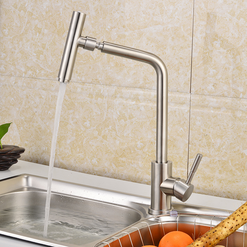 JOOE Kitchen faucet 304 Stainless steel hot and cold mixer kitchen tap torneira de cozinha grifo cocina robinet cuisine stainless steel manual push self turning stirrer egg beater whisk mixer kitchen wholesale price