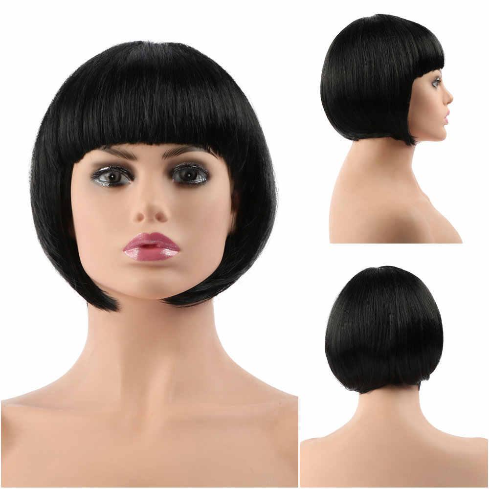 """10 """"Bob syntetyczna peruka z grzywką dla czarnych kobiet blond różowy czerwony czarny krótki naturalne włosy Bob peruka Cosplay damskie peruki z grzywką"""
