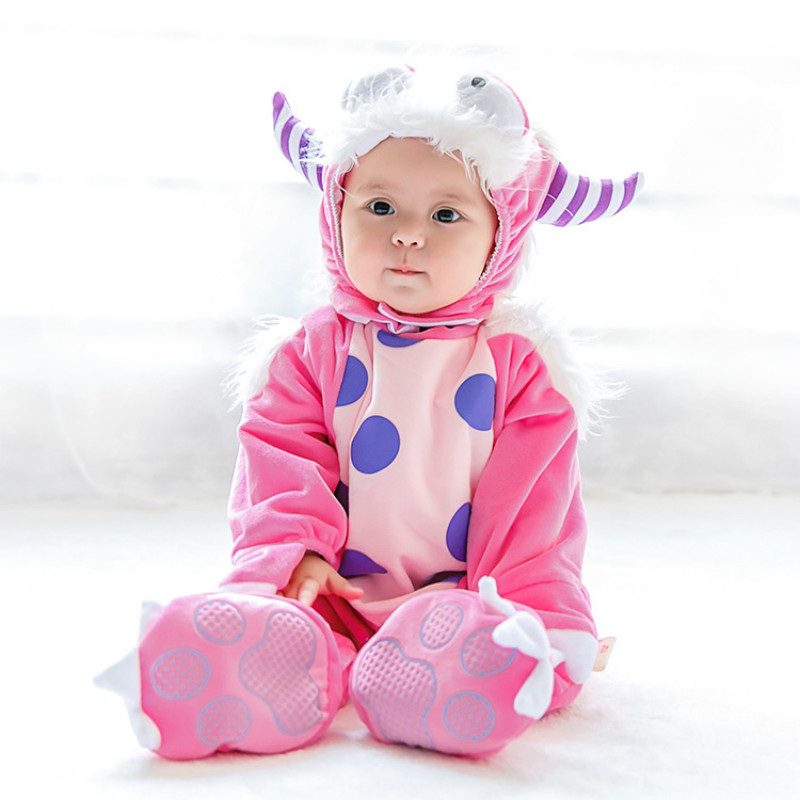 Winter Baby Monster Rompers Fleece Jumpsuit for Kids Animal Suit Girls Pajamas Costumes Cosplay Romper Roupas De Bebe Menino 2016 brand new baby girls rompers fleece body warmer coral velvet pink monkey pajamas sleepwear comfortable outfit free shipping
