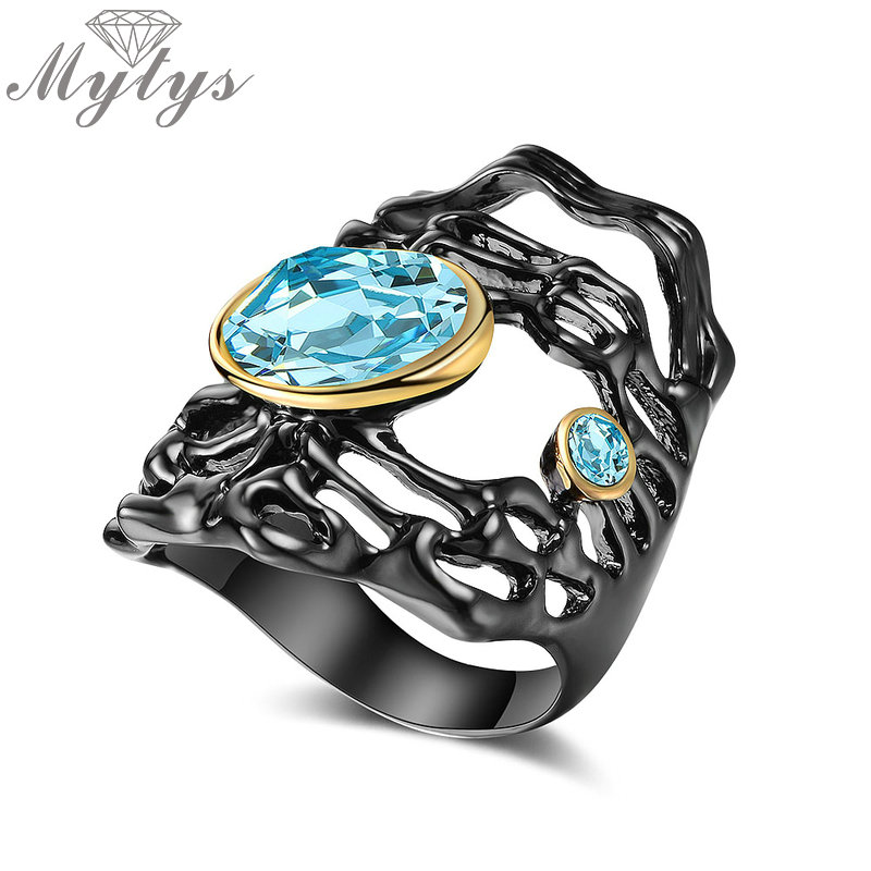 Mytys Black Gun Color Ring Hollow Design Antique Gothic Jewelry Ocean Blue Crystal Ring For Women Statement Cocktail Ring R2139
