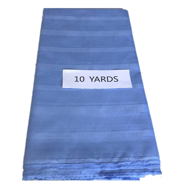 10 metri UN Pezzo Aqua/Cielo Blu/Beige Puro Cotone Atiku Materiale In Nigeria Stile Atiku Tessuto di Cotone promozione Per Gli Uomini Panno 30