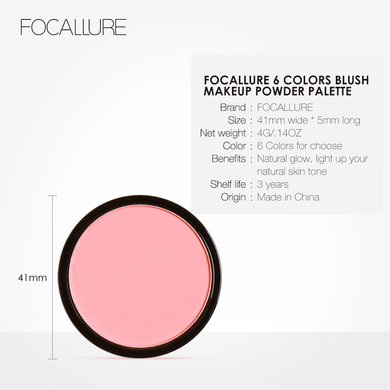 Focallure Makeup Blush Palette Professional Single Color Face Beauty Cheek Blusher Shading Pressed Powder Blusher Set Cosmetics in Blush from Beauty Health