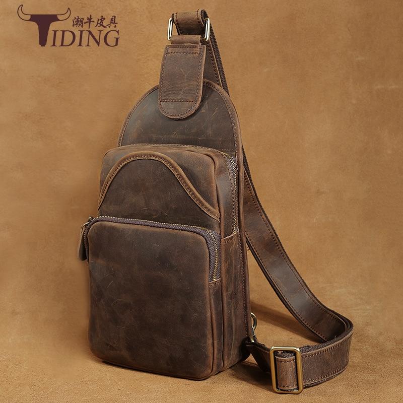 Genuine Leather TIDING Luxury Crazy Horse Leather Men Retro Shoulder Bag Messenger Bag Sling Bag Vintage Travel Crossbody Bag цены онлайн
