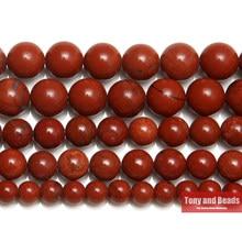 Perles rondes de jaspe rouge en pierre naturelle, 15 pouces, brin 3 4 6 8 10 12MM, taille au choix pour la fabrication de bijoux, n ° AB42