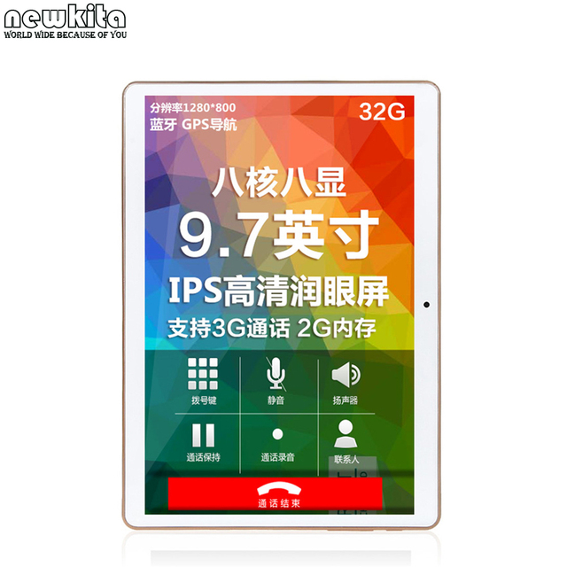 Newkita 9.7 10 polegada Quad core Phablet Android 5.1 Tablet PC ROM 16 GB 3G telefonema Pad 1280x800 IPS GPS Do Bluetooth Tablette