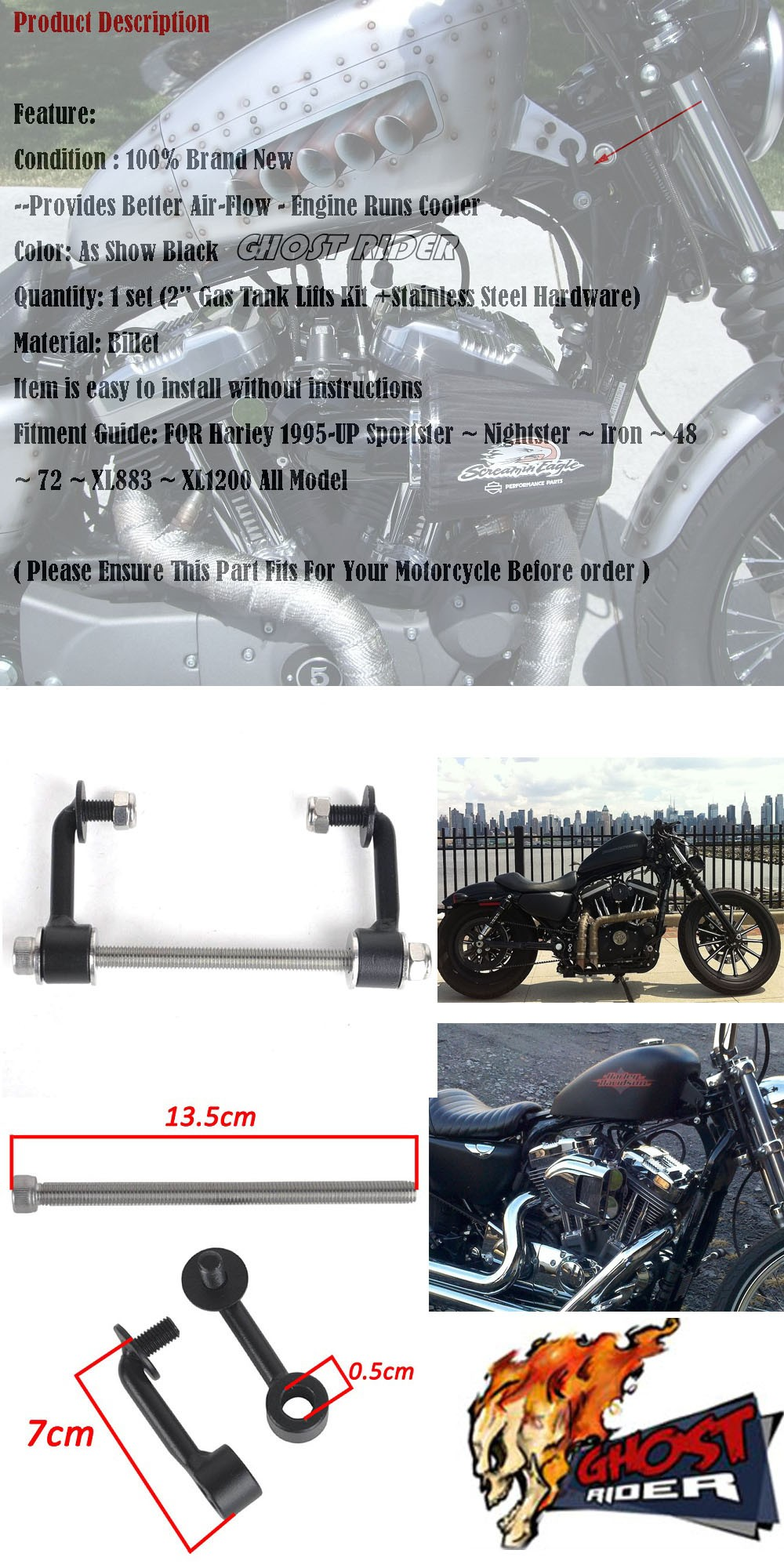 Motorcycle Billet 2 Gas Tank Lifts Kit Fits For Harley Sportster 2000 Xl 883 Wiring Harness The And Buell Aeproductgetsubject