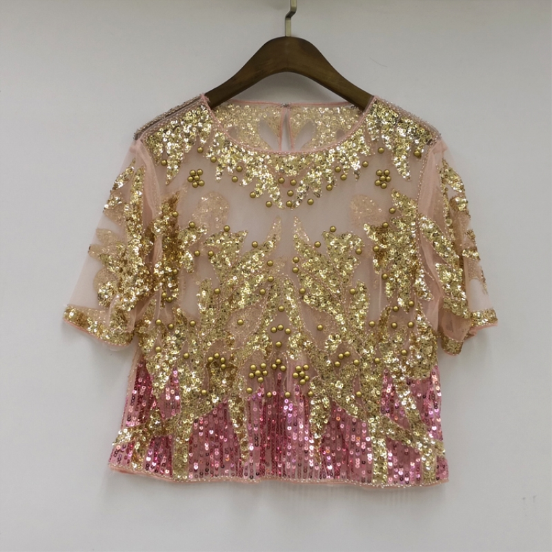 Sexy Runway Beading Sequin Shirt Top Short Sleeve Perspective Sheer Gauze  Mesh Lace Blouse Women Summer Crop Top Blusa Camisa-in Blouses   Shirts from  ... a4752d94c57d