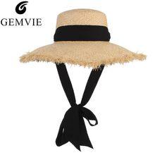 60ec1c35a16d5d Handmade Weave Raffia Sun Hat Women Black Ribbon Lace Up Large Brim Straw  Hat sombrero de mujer Summer Beach Cap Chapeu Feminino