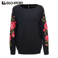 GLO STORY Women's Embroidered Pullover Sweater 2018 Fashion Long Sleeve Knit Solid Back zipper Sweaters Feminino Tops 5684