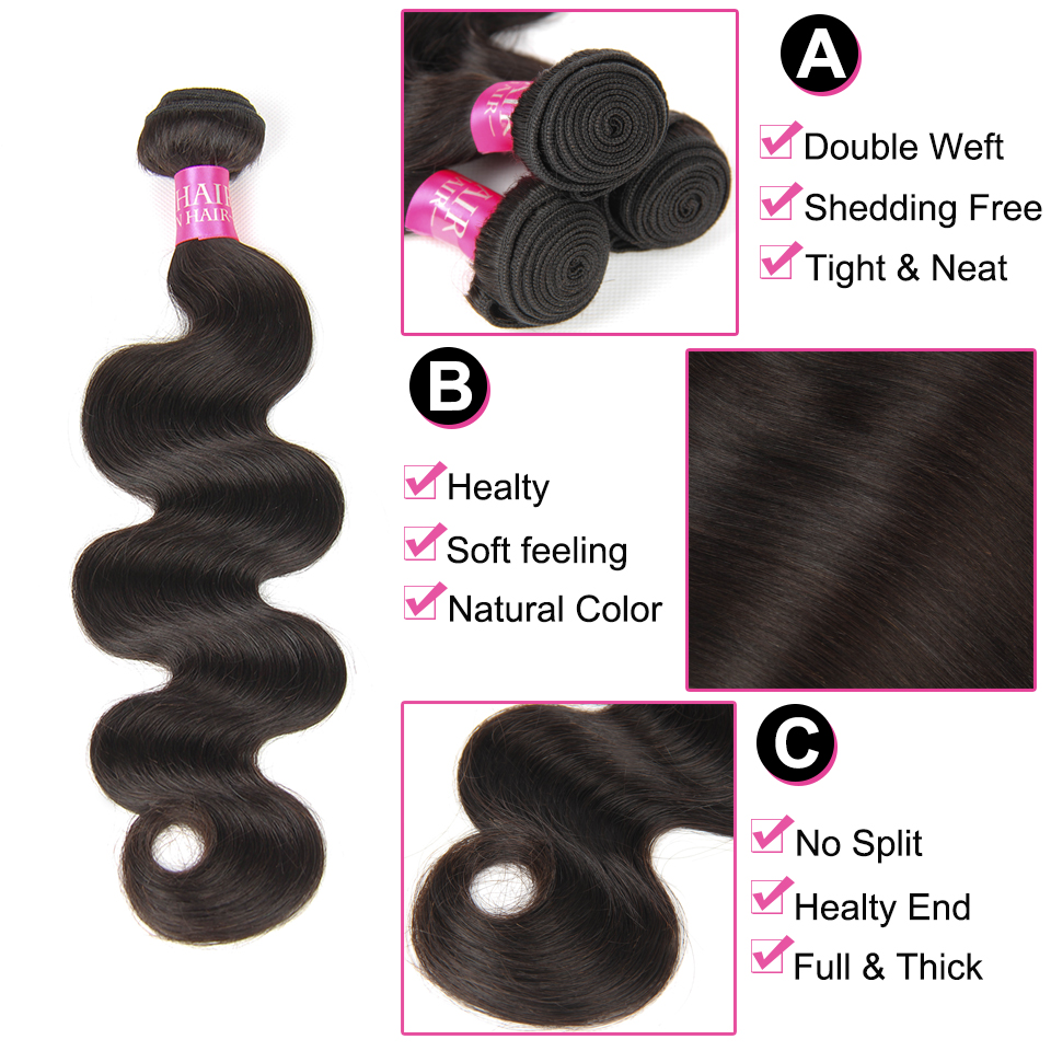 Skønhed Grace Hair Brazilian Body Wave Human Hair Weave 3 Bundler - Menneskehår (sort) - Foto 3