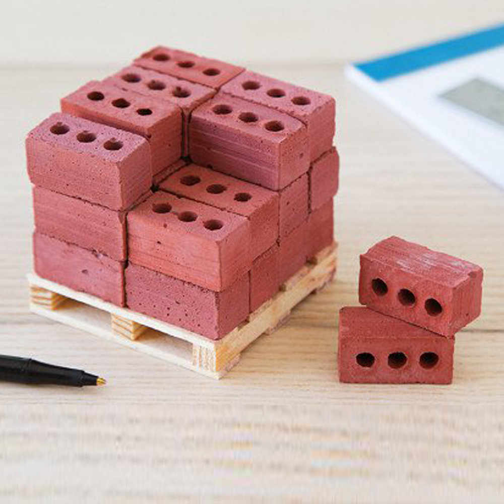 56Pcs Mini Cement Cinder Bricks Build Your Own Tiny Wall Mini Red Bricks Educational Toys for Children Classic Building Blocks