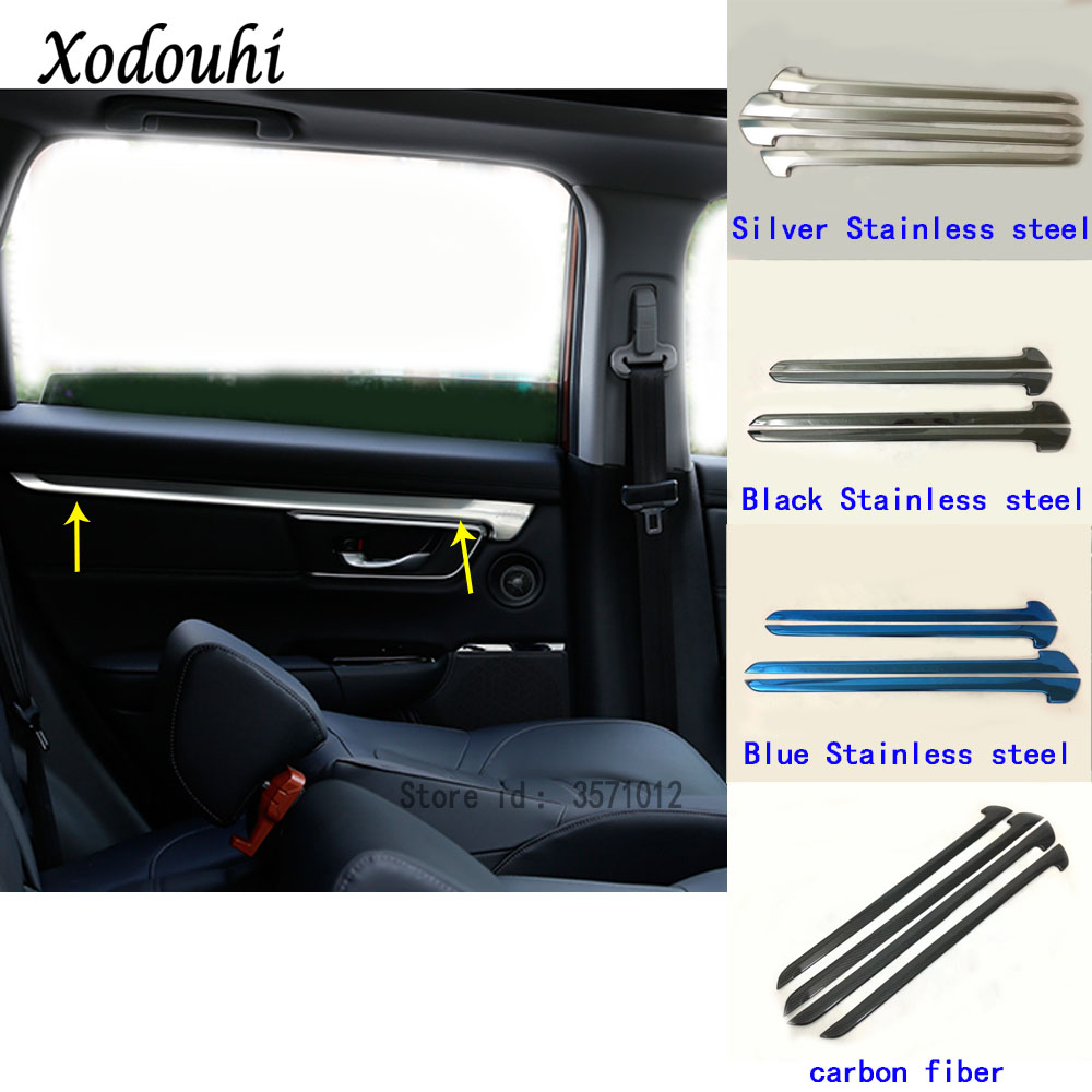 Car Stick Trim Armrest Handrail Chrome <font><b>Door</b></font> Inner Frame Panel Hoods <font><b>Handle</b></font> Bowl Moulding For <font><b>Honda</b></font> <font><b>CRV</b></font> CR-V 2017 2018 2019 2020 image