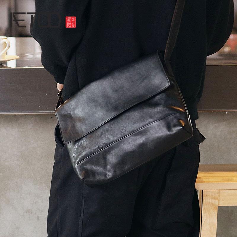 AETOO Men s leather single shoulder bag Japanese cowhide crossbody bag planting tanning leather flip male