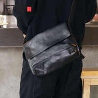 AETOO Men's leather single shoulder bag Japanese cowhide crossbody bag planting tanning leather flip male bag