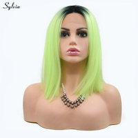 Sylvia Summer Green Wig Ombre Dark Roots Two Tone High Temperature Short Bob Straight Natural Hairline Synthetic Lace Front Wigs
