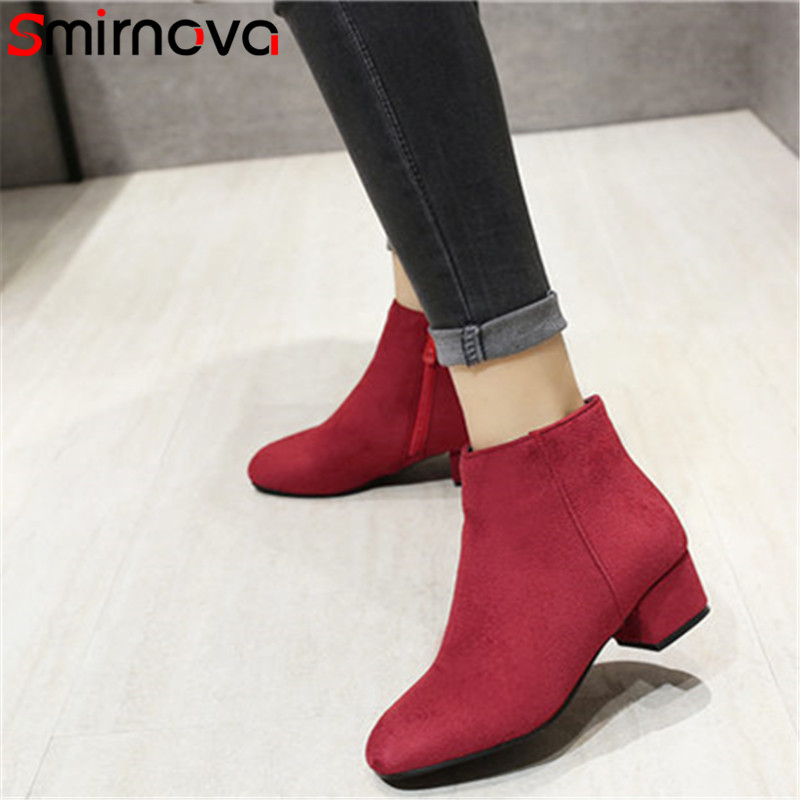 Smirnova red black dark brown 2018 women boots zip med square heels round toe casual dress prevail mature female ankle boots