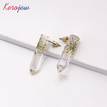 Korean Stylish Stud Earrings Clear Resin Simple Fashion Aretes De Mujer Elegant OL Lady Vintage Big Earring For Women Wholesale(China)